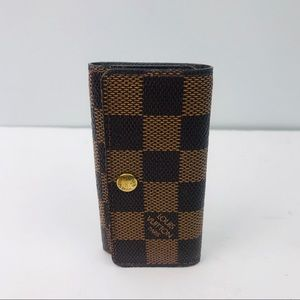 Authentic Louis Vuitton Damier Ebene 4 Key Holder